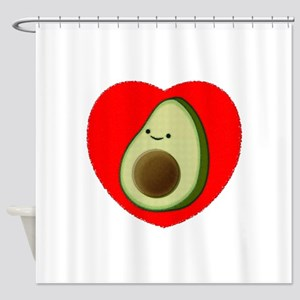 Cute Avocado In Red Heart Shower Curtain