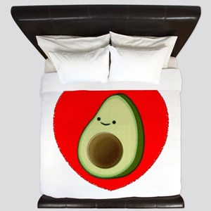 Cute Avocado In Red Heart King Duvet