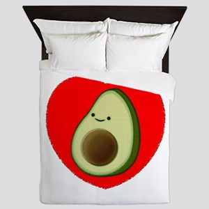 Cute Avocado In Red Heart Queen Duvet