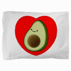Cute Avocado In Red Heart Pillow Sham