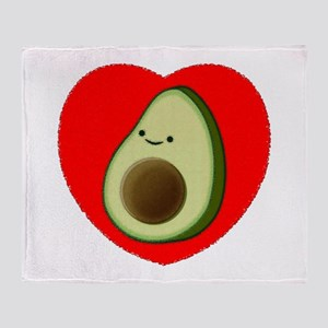 Cute Avocado In Red Heart Throw Blanket