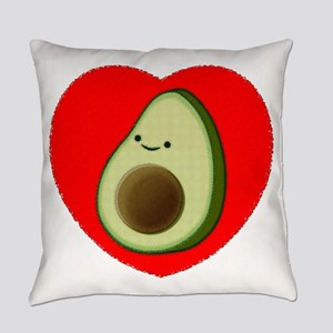 Cute Avocado In Red Heart Everyday Pillow
