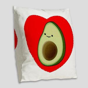Cute Avocado In Red Heart Burlap Throw Pillow