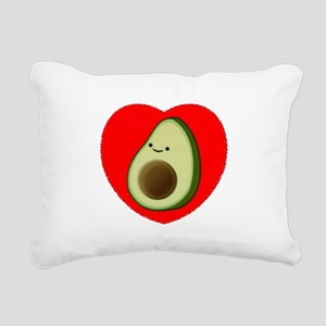 Cute Avocado In Red Hear Rectangular Canvas Pillow