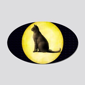 Cat In Moon 20x12 Oval Wall Decal