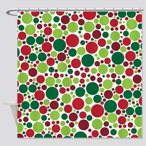 Red and Green Christmas Polka Dots Shower Curtain