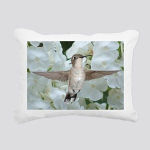 Hummer on Phlox Rectangular Canvas Pillow