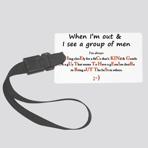 Checking out mens butts Large Luggage Tag