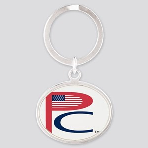 P  C, sm flag, on wht,7 copy-copy,8b Oval Keychain