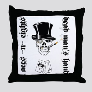 aces -n- eights dead mans hand - blac Throw Pillow
