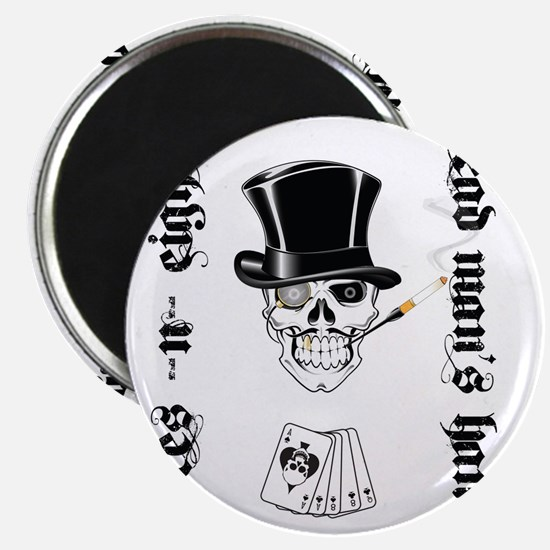 aces -n- eights dead mans hand - black text Magnet