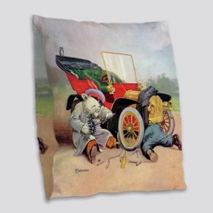 7 broken down car bears_SQ Burlap Throw Pillow