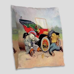7 broken down car bears_SQ Burlap Throw Pillow