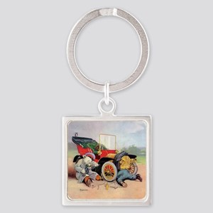 7 broken down car bears_SQ Square Keychain