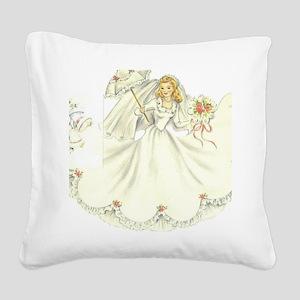 vintage bride picture Square Canvas Pillow