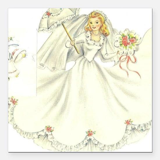 """vintage bride picture Square Car Magnet 3"""" x 3"""""""