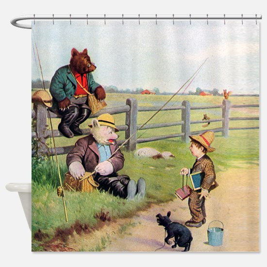 RB_bears gone fishing_SQ Shower Curtain