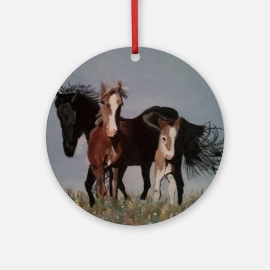 Wild Horses Pillow Round Ornament