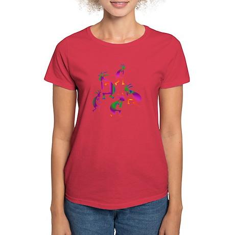 Red, Green, Purple Kokopelli Women's Dark T-Shirt