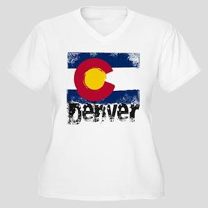 Denver Grunge Flag Women's Plus Size V-Neck T-Shir