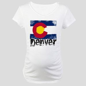 Denver Grunge Flag Maternity T-Shirt