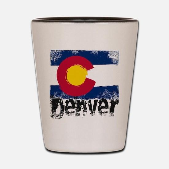 Denver Grunge Flag Shot Glass