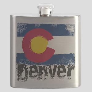 Denver Grunge Flag Flask