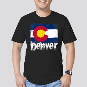 Denver Grunge Flag Men's Fitted T-Shirt (dark)