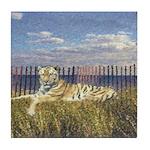 Tiger on the Beach Tile Coaster