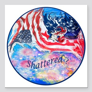"""Shattered_Button_Lg Square Car Magnet 3"""" x 3"""""""
