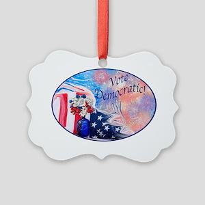 Vote Democratic Oval Picture Ornament