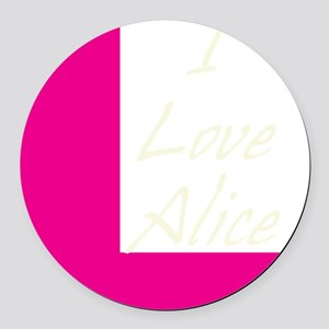 i love alice light text Round Car Magnet