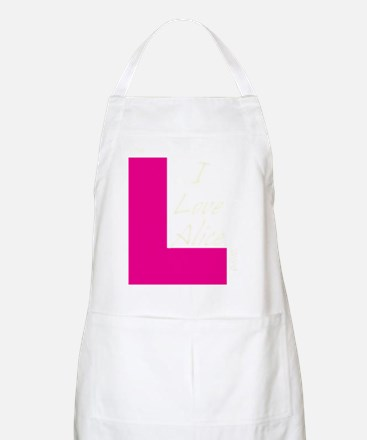 i love alice light text Apron