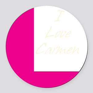 i love carmen light text Round Car Magnet