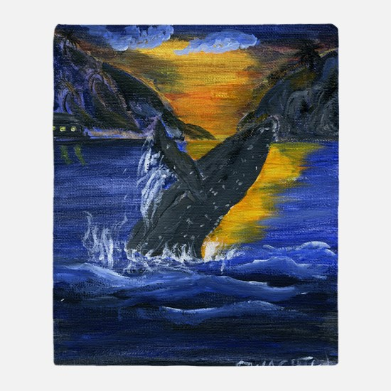 Whale at Sunset Throw Blanket