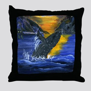 Whale at Sunset Throw Pillow