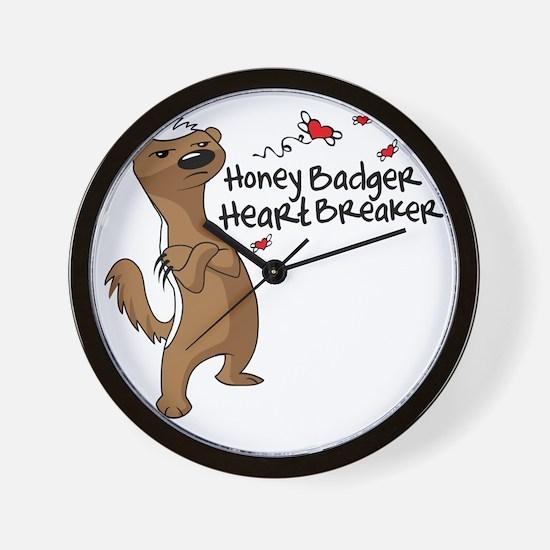 Honey Badger Heart Breaker Valentines D Wall Clock