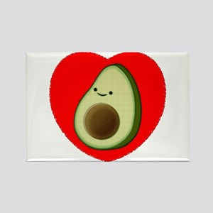 Cute Avocado In Red Heart Magnets