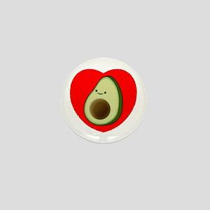 Cute Avocado In Red Heart Mini Button