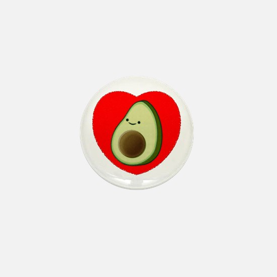 Cute Avocado In Red Heart Mini Button