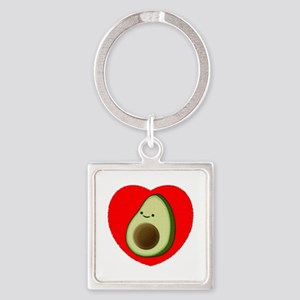 Cute Avocado In Red Heart Keychains