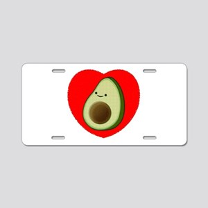 Cute Avocado In Red Heart Aluminum License Plate