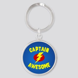 Captain Awesome Round Keychain