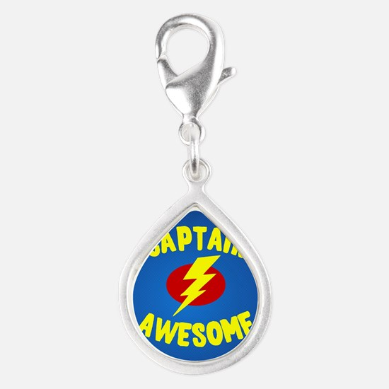 Captain Awesome Silver Teardrop Charm