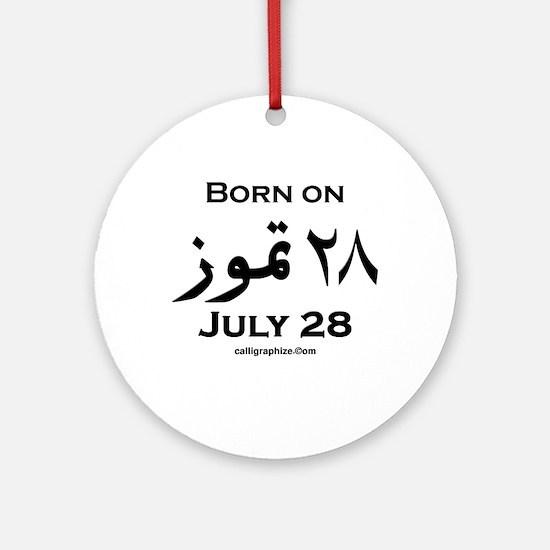 July 28 Birthday Arabic Ornament (Round)
