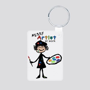 Messy Artist At Work Aluminum Photo Keychain