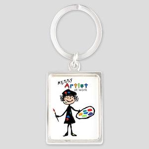 Messy Artist At Work Portrait Keychain