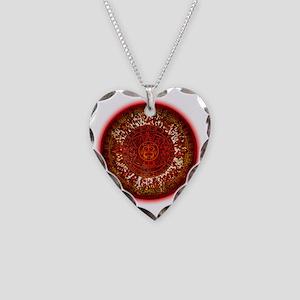 Mayan Calendar Sun Necklace Heart Charm