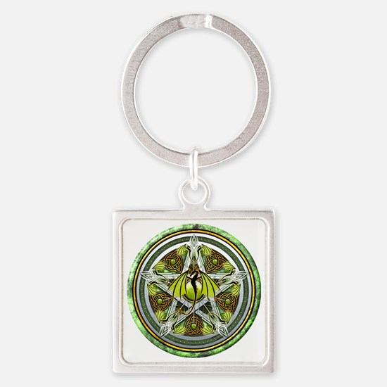 Celtic Earth Dragon Pentacle Square Keychain