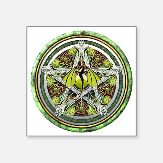 """Celtic Earth Dragon Pentacl Square Sticker 3"""" x 3"""""""